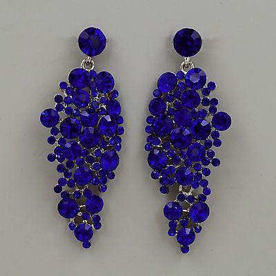 New Rhodium Plated Blue Crystal Rhinestone Drop Chandelier Dangle Earrings 04989