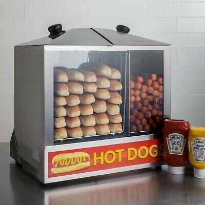 Hot Dog Steamer Commercial 200 Hotdog Cooker Bun Warmer Concession Vending Cart
