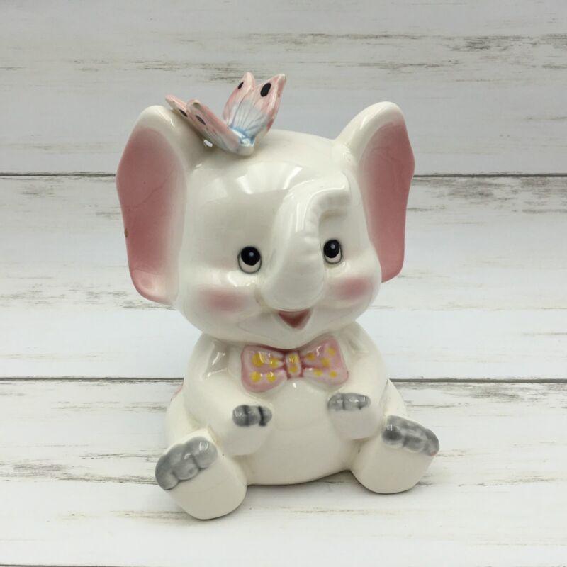 Vintage Josef Originals Ceramic Elephant Butterfly Bank