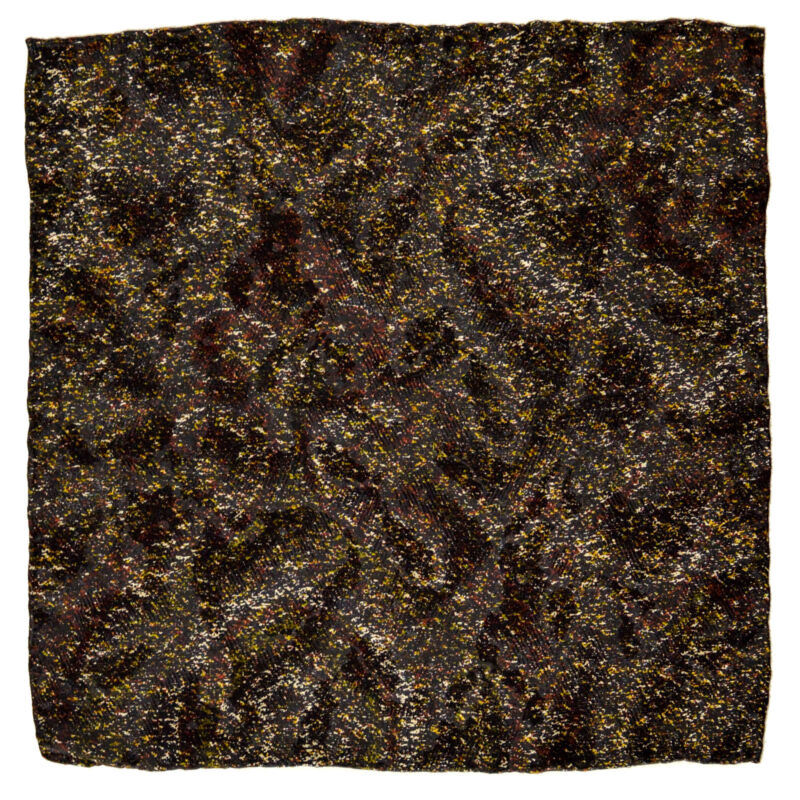 "New SANTOSTEFANO Black Gold Brown 12"" Silk Pocket Square Handkerchief NWT $150"