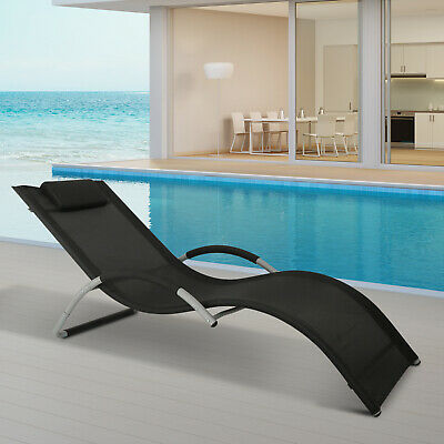 Outsunny Mesh Fabric Aluminum Outdoor Pool Sun Lounger Bathing Curved -