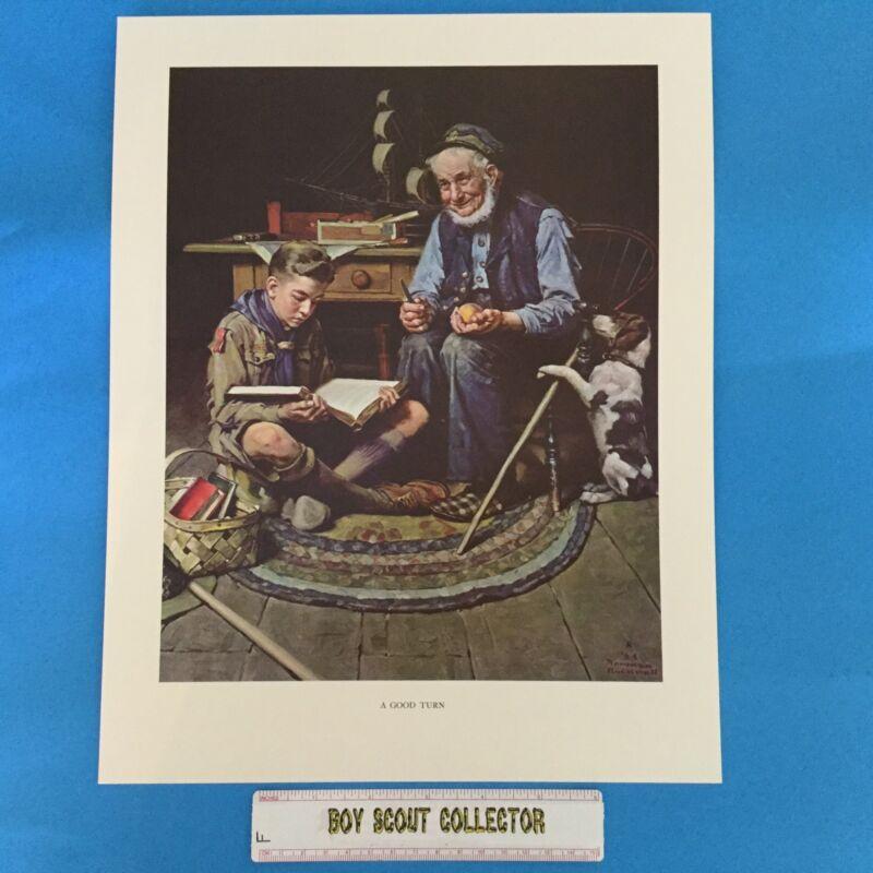 "Boy Scout Norman Rockwell Print 11""x14"" A Good Turn"