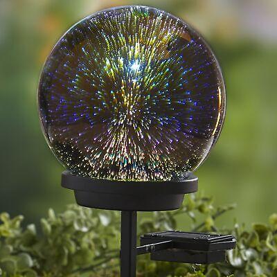 3D Effect Solar Glass Gazing Ball with Stake - Outdoor Garden Accent Garden Stake 3d Metal