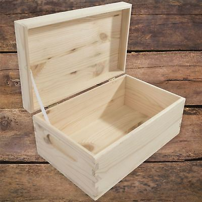 Small Rectangular Wooden Storage Box With Lid And Handles To Decorate Craft DIY