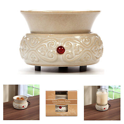 Electric Candle Wax Warmer Home Ceramic Tart Cube Melter 2 Piece Scented Burner