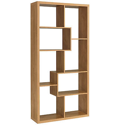 Oak Finish Storage Shelf Room Divider Shelves Display Shelving Unit