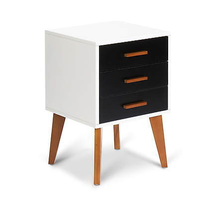 Set of 2 Uppsala Bedside Table Scandinavian Retro Side Table Cabinet Matt Black