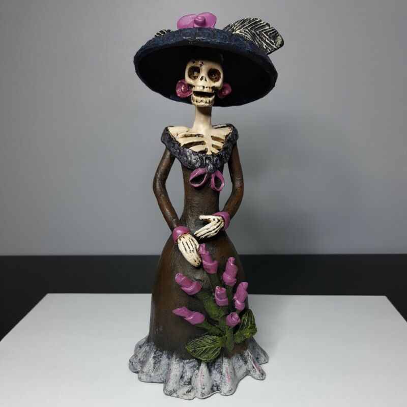 "7.5"" Lady  The Dead Skeleton Woman Figurine Folk Art ""Stroll Catrina Morte"