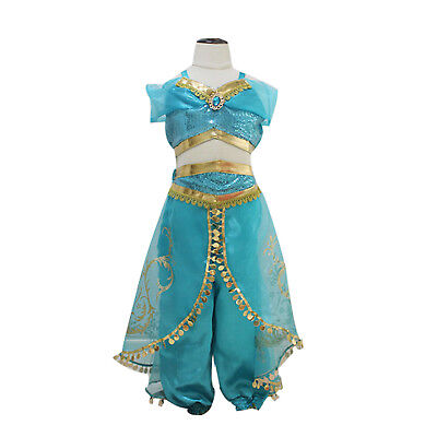 Princess jasmine Costume Outfit for Kids Girls Aladdin  Fancy Dress Split suit](Princess Girls Costume)