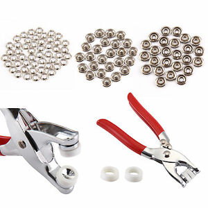 100pcs Prong Pliers Ring Press Studs Snap Popper Fasteners 9.5mm DIY Tool Kit