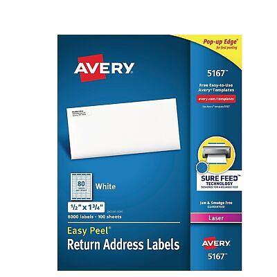 Avery Easy Peel Laser Address Labels 12 X 1 34 White 80sheet 771972