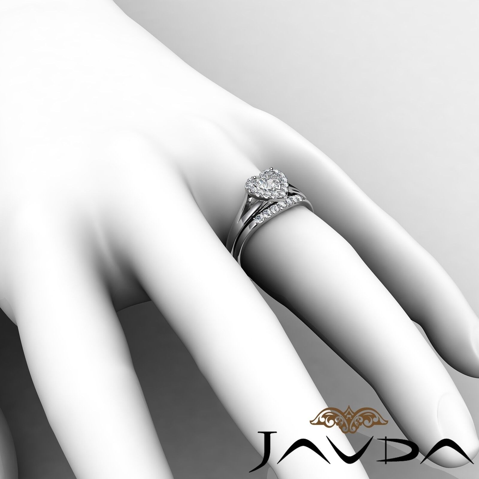 1.22ctw Pave Halo Bridal Set Heart Diamond Engagement Ring GIA G-VVS2 White Gold 6