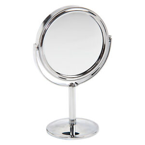 Double Sided Chrome Round Magnifying Cosmetic Shaving Bathroom Swivel Mirror UK