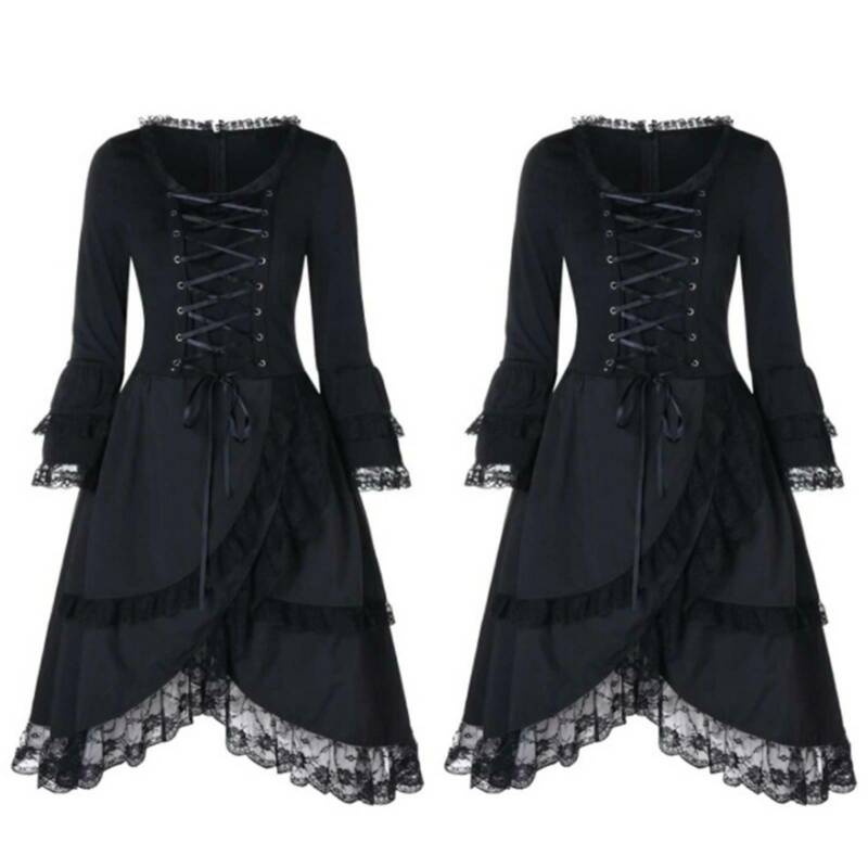 women halloween gothic laceup dress medieval witch