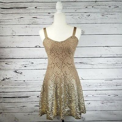 Free People dress size XS tan gold lace skater fit and flare adjustable straps  Tan Gold Flare
