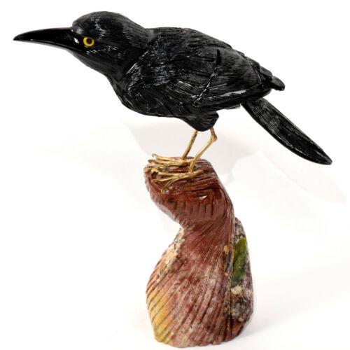 "7.9"" Black Onyx Crow on Polychrome Jasper Base Hand Made Crystal Sculpture Peru"