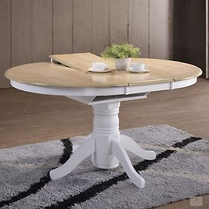 Extending Dining Table Round Solid Wood Kitchen Furniture Shabby Chic Country