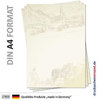 100 Blatt Motivpapier-5129 DIN A4 Dorfzeichnung Bauernhof Malerei Briefpapier