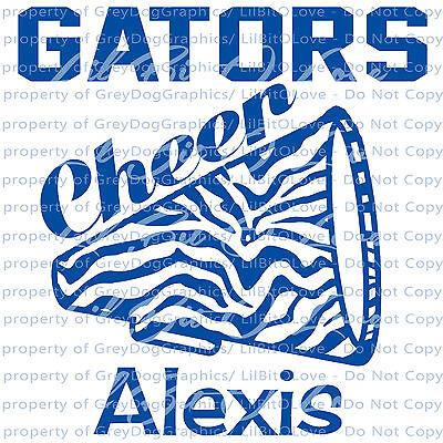 Custom Cheer Megaphones ( Custom Cheer Zebra Megaphone Vinyl Decal Cheerleading Sticker Your Name &)