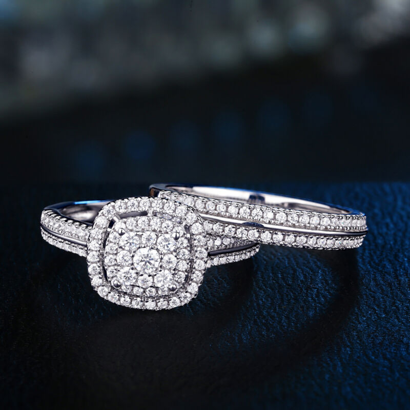 Newshe Wedding Engagement Ring Set 1.6ct Round White 925 Sterling Silver Cz 5-12