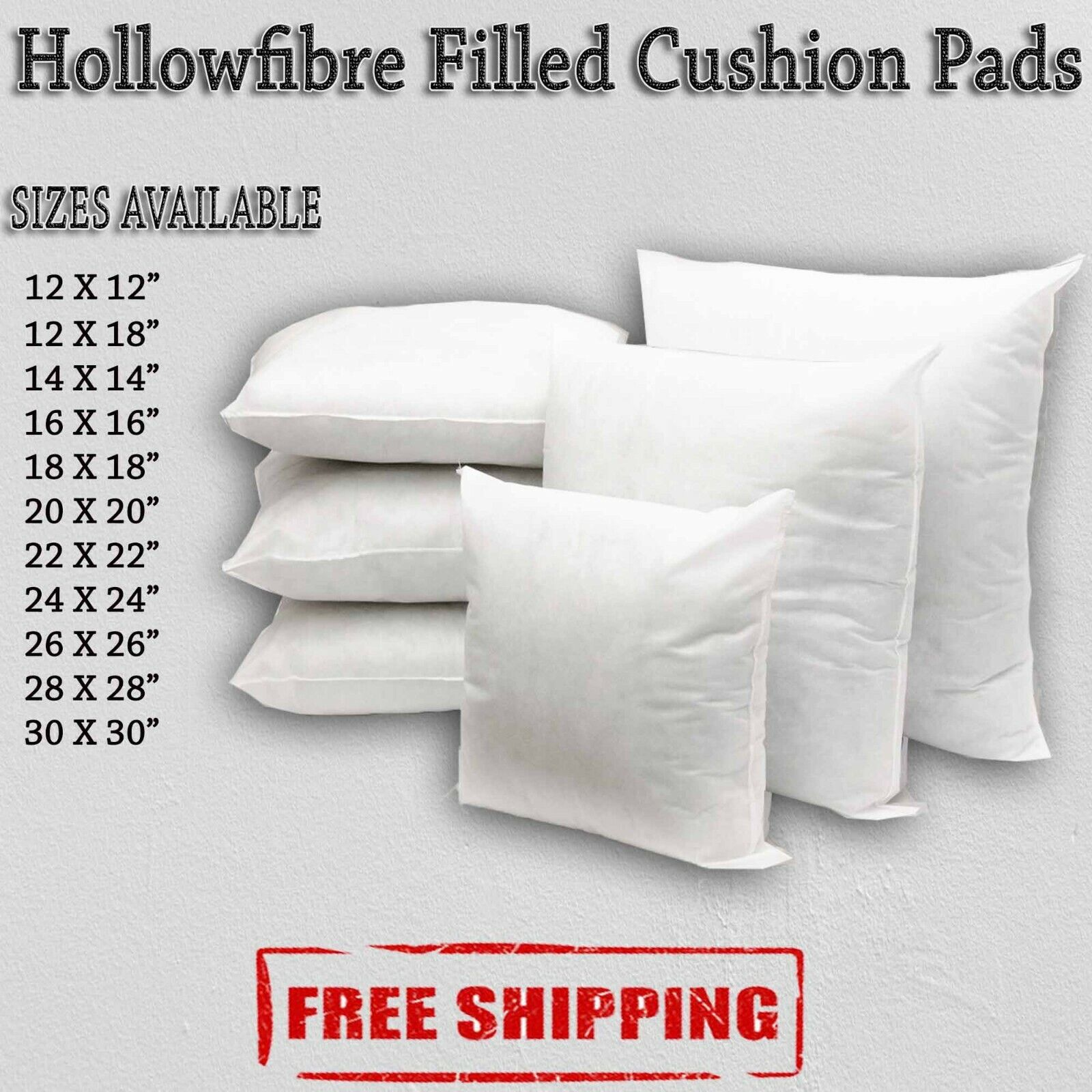 """Hollowfibre Cushion Pads Inserts Fillers Inners Sizes 16/"""" 18/"""" 20/"""" 22/"""" 24/"""""""