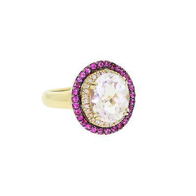 LeVian 14K Gold Ring Checkerboard Ice Amethyst Diamond & Pink Sapphire Halo Sz 7 Amethyst Pink Sapphire Ring
