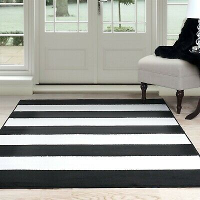 Lavish Home Striped Area Rug Black and White 3 x 5 Feet Carpet - Rugs And Carpets