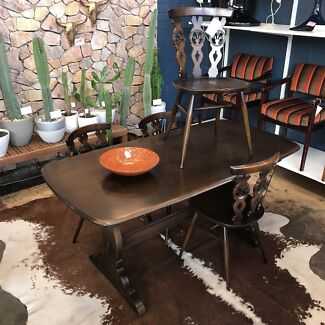 Vintage Ercol Dining Table Chairs