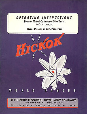 Operators Manual For Hickok 600a Tube Tester Lots Of Added Maintenance Info