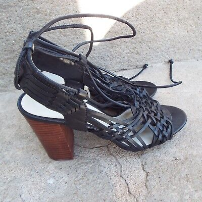 1 State Black Leather Strappy Shannen Braided Block Heel Sandal Size 7M $139 New