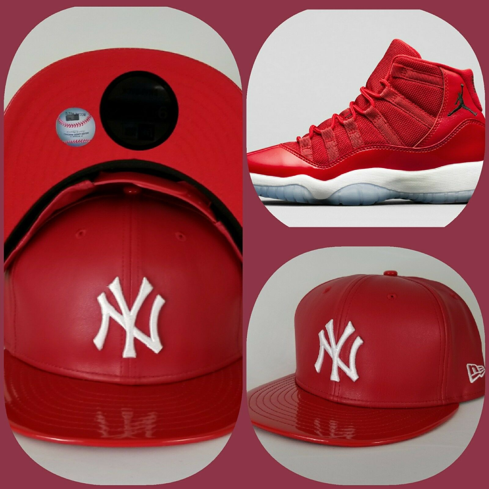 55a5f590a9aa08 Details about New Era New York Yankee Red Faux Leather snapback hat Jordan  11 Gym Red