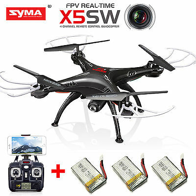Syma X5SW Wifi FPV 2.4G RC Quadcopter Drone with HD Camera + 3 Batteries