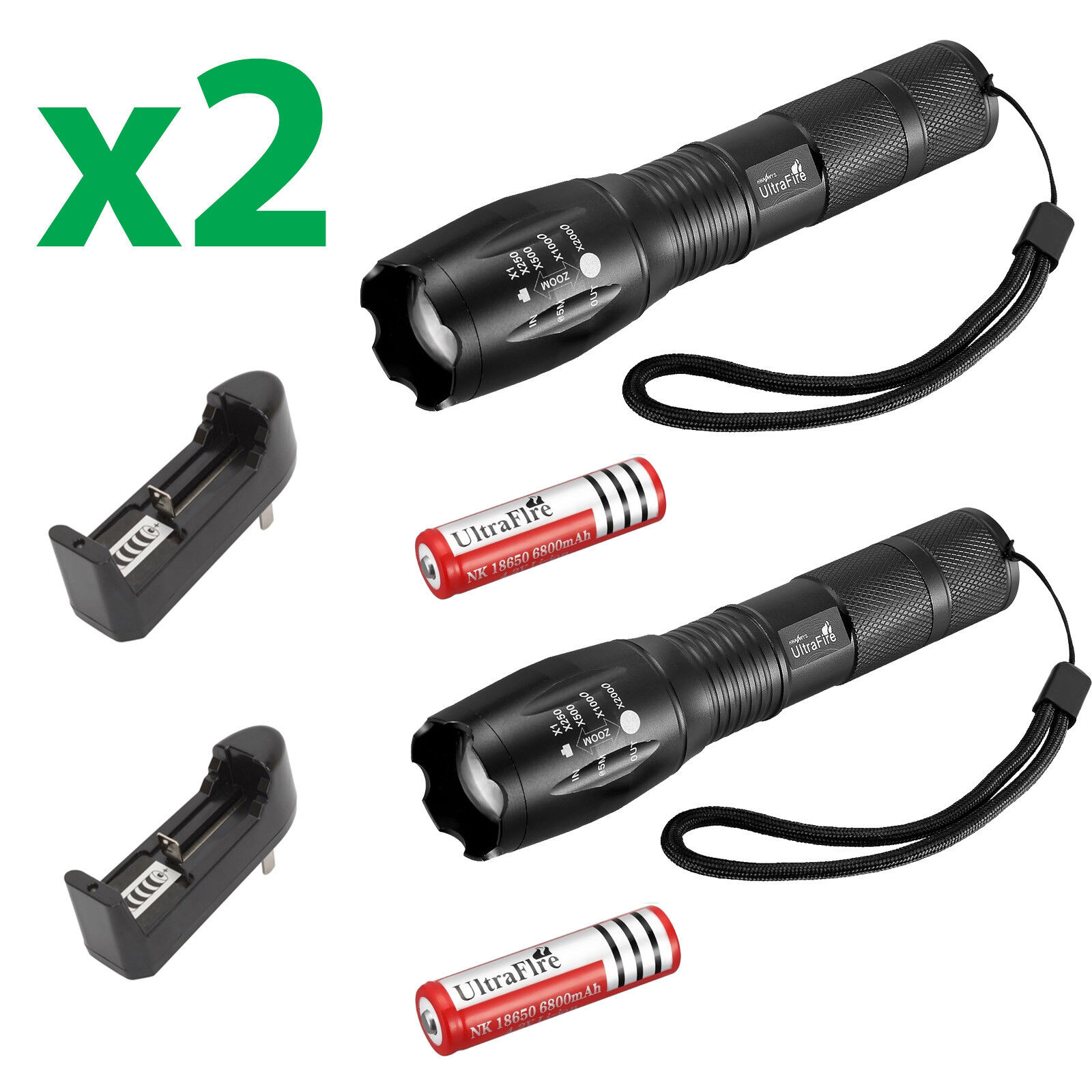6 X Ultrafire Tactical 15000LM T6 Power LED Zoom Flashlight + 18650&Charger USA 2 Flashlight,2Battery,2Charger