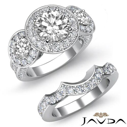 3 Stone Round Diamond Engagement Bridal Set Ring GIA F VS1 14k White Gold 3.27ct