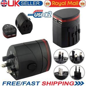 New Universal World Wide Multi Travel Charger Plug Adapter with Dual USB PORT UK