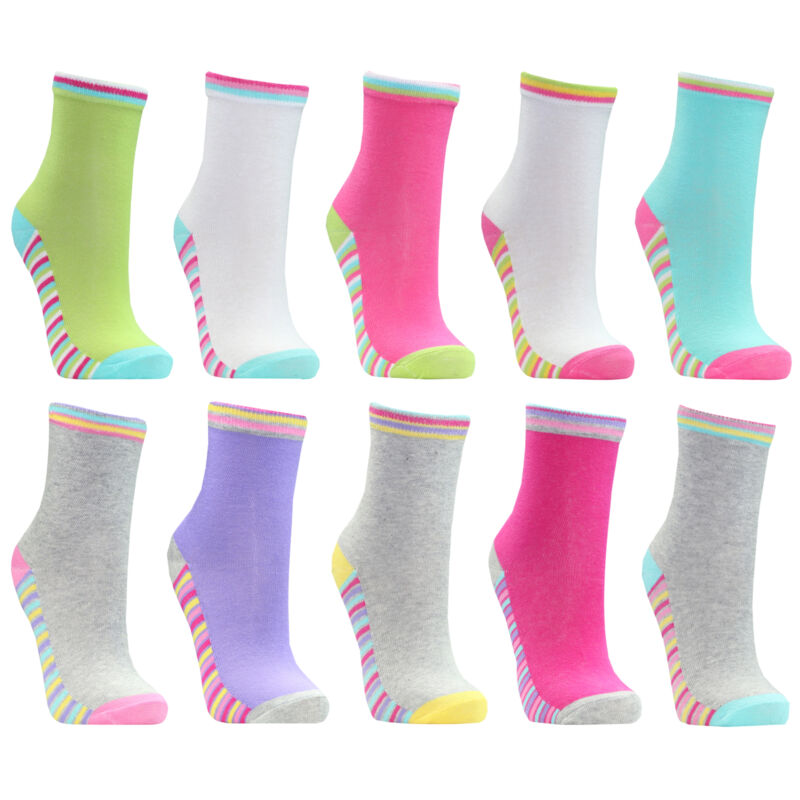 Girls Striped Socks Cotton Rich Colourful Stripy Multipack Childrens 10 Pairs