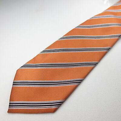 Umo Lorenzo Polyester Mens Necktie Orange Striped Tie 108-10