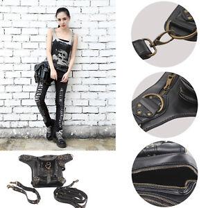 UK Men Women Leather Steampunk Belt Bag Waist Leg Hip Holster Cyber Punk Bag