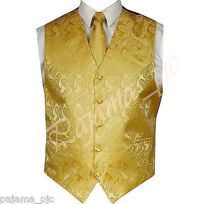 Gold Vest (Gold XS to 6XL Paisley Tuxedo Suit Dress Vest Waistcoat & and Neck tie)