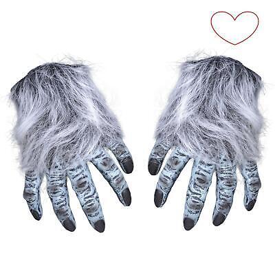 Handschuhe Erwachsene Haarig Grau Wolf Werwolf Hände Halloween Kostüm (Werwolf Hände Kostüm)
