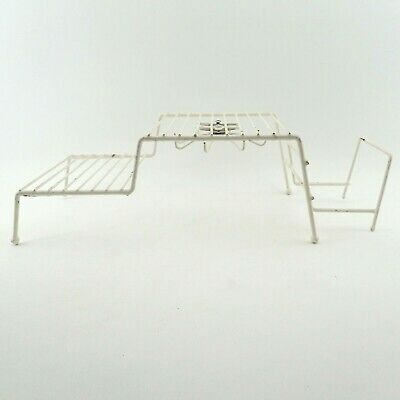 1 Kitchen Storage Rack Coated Metal Wire Hooks Organizer Cupboard Shelf White