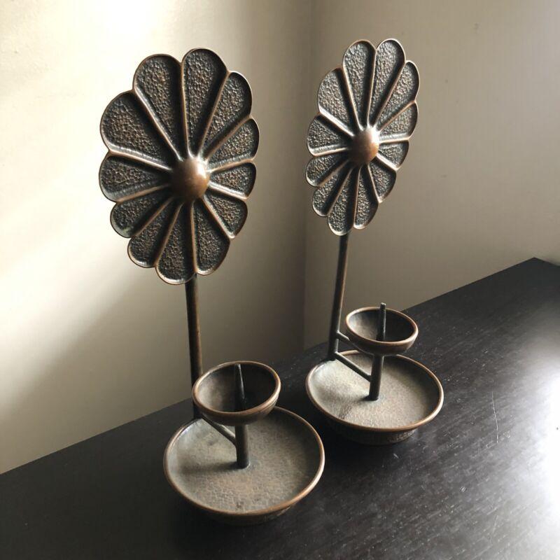 SIGNED Korean PAIR Modernist Hammered Copper Candlesticks Candle Holder Art WOW