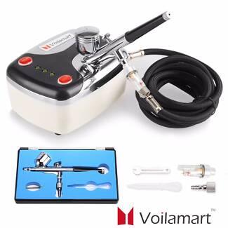Voilamart Airbrush Compressor 7cc Dual Action Paint Spray Gun Kit