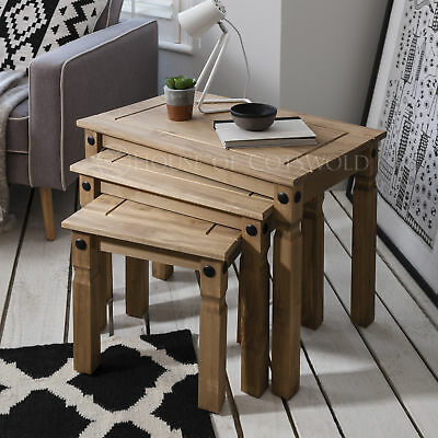 Nest of 3 Tables Wooden Corona Mexican Pine