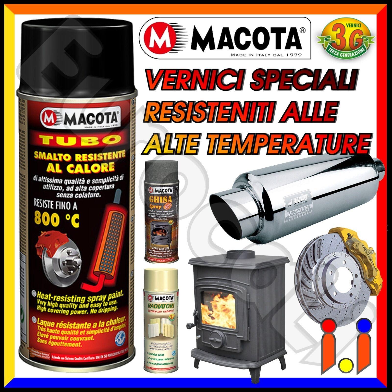 MACOTA Alte Temperature Vernice Spray Pinze Freno Marmitte Tuning Tubo NON COLA