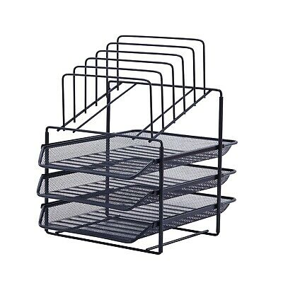 Pen Gear Mesh Desk Organizer With 3 Sliding Letter Tray 5 Upright Sections