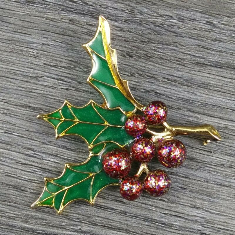 MAMAS ESTATE 1928 BRAND CHRISTMAS BROOCH PIN UNSIGNED #B5-16