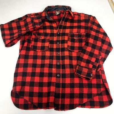 1940s Men's Shirts, Sweaters, Vests Vintage Woolrich Button Up Shirt Men's 17 Long Sleeve Red Black Wool 1940's $79.99 AT vintagedancer.com