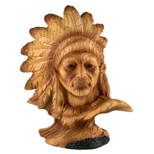 """Mini Bust Native American Indian Chief Faux Carved Wood Look Figurine Resin 4.2"""""""