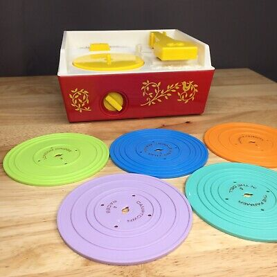Fisher Price 2010 Music Box Record Player with 5 Discs, Works Great!